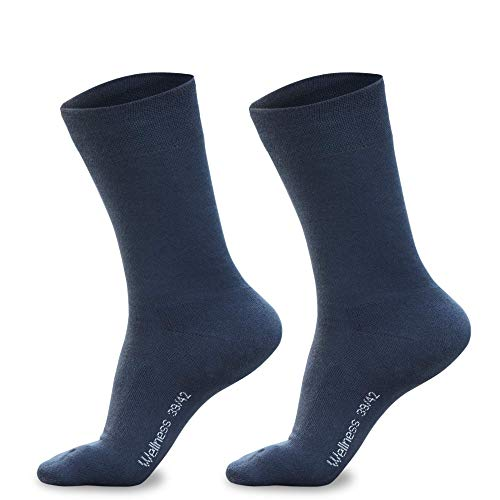 Piarini 3 Paar Herren-Socken Baumwolle Innenfrottee Sohle Bequeme Business-Socken atmungsaktive Edle Socken Männer Blau 39 40 41 42