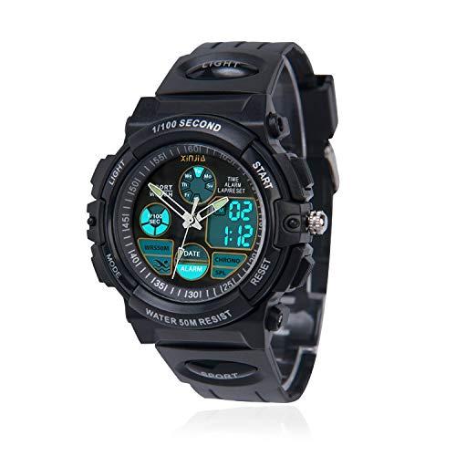 Kinderuhr für Jungen,Digital Analog Armbanduhr 50M wasserdichte Sportuhr im Freien mit Alarm/Stoppuhr/LED-Licht für Jugendliche(Schwarz)