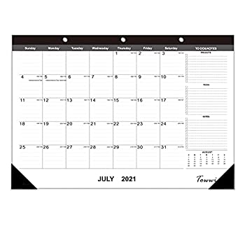 TOWWI Monthly Desk Pad Calendar Desk/Wall Calendar for Daily Schedule Planner 16.7x11.6 inches  Black
