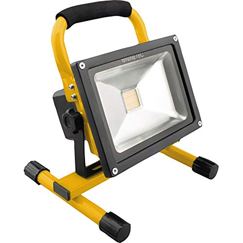 NINETEC 20W LED Flutlicht Fluter Lampe Außen Strahler kabellos Baustrahler Akku-Strahler tragbar Gelb