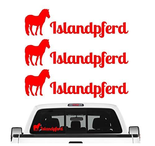 Siviwonder Islandpferd Pferdesport Aufkleber 3er Set Pferdeaufkleber Pferd reiten Auto Folie Farbe Rot, Größe 10cm