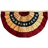 Anley Bandera de Abanico de EE. UU, Teñida con té, Estilo Vintage, 1.5x3 pies de Nylon, Estrellas Bordadas y Rayas Cosidas, 4 hileras de Costuras Cerradas, Banderas de Abanico de EE. UU.
