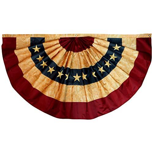 Anley Vintage Style Tee gebeizt USA Plissee Fan Flagge 1,5x3 Fuß Nylon - Gestickte Sterne und genähte Streifen - 4 Reihen von Lock Stitching - Antiquierte USA Plissee Fan Flags mit Messing Ösen