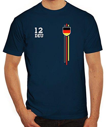 Germany Soccer World Cup Fussball WM Fanfest Gruppen Herren Männer T-Shirt Rundhals Streifen Trikot Deutschland, Größe: L,dunkelblau