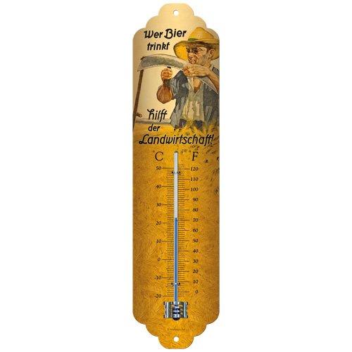 Nostalgic-Art Wer Bier trinkt hilft der Landwirtschaft Thermometer, Metall, Bunt, 28 x 6.5 x 2 cm