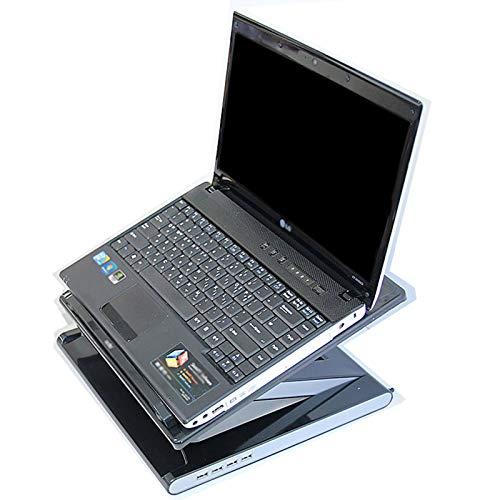 BSTL Escritorio de Mesa para Computadora Portátil con Almohadilla de Enfriamiento - Soporte para Computadora Portátil Soporte Ergonómico Plegable para El Desayuno Bandeja para Libros,Black