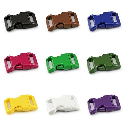 """Ganzoo klick-Verschluss aus Kunststoff im 9er Farb-Mix Set, 3/4\"""" / Klippverschluss/Steckschließer/Steckverschluss für Paracord-Armbänder, Hunde-Halsbänder, Rucksack"""