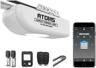 Atoms ATR-1722W by Skylink 3/4HPF Smart Wi-Fi Garage Door Opener with Extremely Quiet DC Motor, Chain Drive, 2 Remote Controls and Deluxe Wall Console