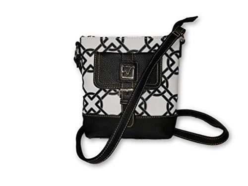 STONE MOUNTAIN Black White Knots Print Crossbody Handbag