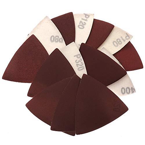 XKMY 60 piezas de 80 x 80 mm de papel de lija autoadhesivo, triángulo, gancho de papel, herramientas abrasivas para lijado pulido (grano: 80)