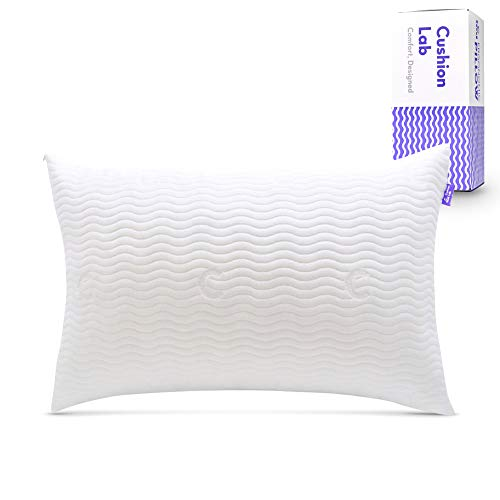 Cushion Lab Extra Support Adjustable Shredded Memory Foam Pillow for Back, Stomach, Side Sleeper -...