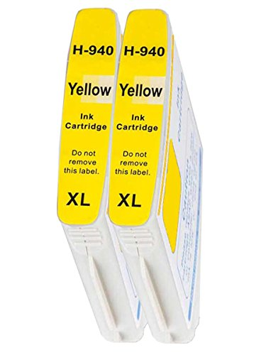 Merotoner - 2 cartuchos de tinta para HP 940 XL 940XL con chip HP OfficeJet Pro 8000, HP OfficeJet Pro 8000 inalámbrico, HP OfficeJet Pro 8500, HP OfficeJet Pro 8500 Premier, HP OfficeJet Pro 8000 Enterprise, HP OfficeJet Pro 8500 A, HP OfficeJet Pro 8500 A Plus, HP Office. Jet Pro 8500 A Premium, HP OfficeJet Pro 8500 Wireless (amarillo/amarillo)