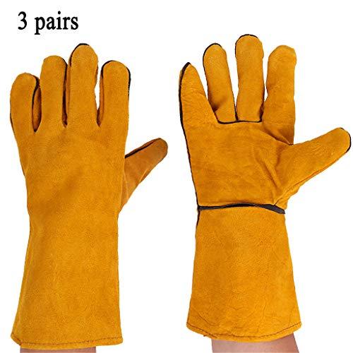 WGE Leather Handschoenen - Ideaal voor Tuinieren/Oven/Open haard/Welding, Geel, 3pairs