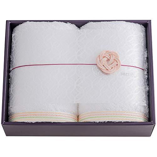今治タオルブランド sara-la (さらら) 「縁-en-」 フェイスタオル 2枚 ギフト ホワイト 日本製