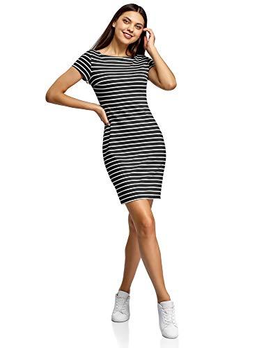 oodji Ultra Damen Bedrucktes Kleid mit U-Boot-Ausschnitt, Schwarz, DE 44 / EU 46 / XXL