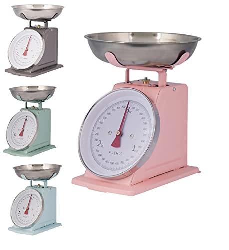 Balanza de cocina retro vintage de metal (rosa pastel)