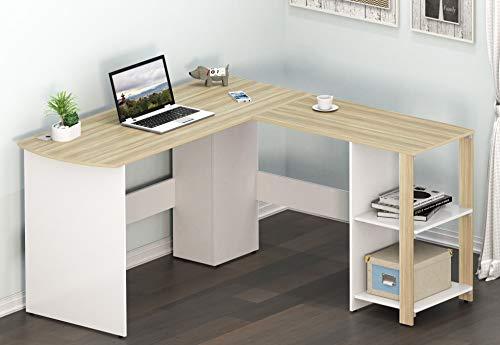 SHW LShaped Home Office Corner Desk Wood Top Oak