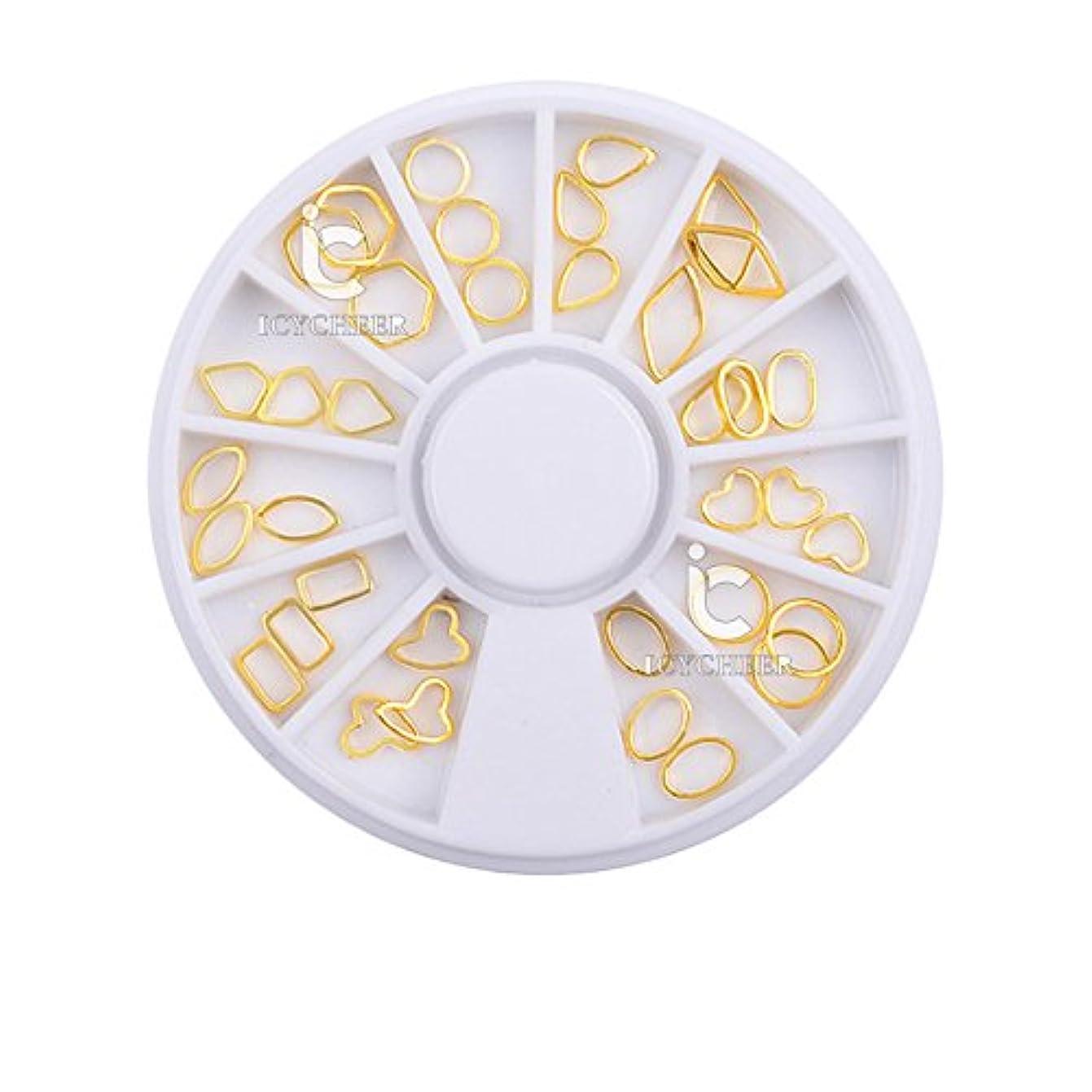 幸福ホテル祈るICYCHEERネイルアートメタルスタッズ装飾ウォータードロップサークルハートゴールド3D合金ラインストーン (gold)
