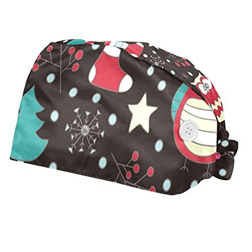 Berretto da lavoro regolabile con bottone e fascia per il sudore, set di cappucci da lavoro, con elastico e fascia, per donne, uomini, 2 confezioni, gufi e sciarpe invernali