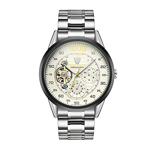 ZBHWYD Relojes mecánicos, Relojes para Hombres, Relojes mecánicos de Acero Inoxidable, Relojes automáticos, Correas de Acero (para Hombres y Mujeres),Blanco