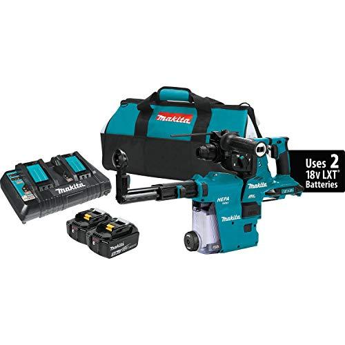 Makita XRH08PTW 18V x2 LXT (36V) Brushless Cordless 1-1/8' AVT Rotary Hammer Kit, Accepts Sds-Plus Bits w/Hepa Dust Extractor (5.0Ah)