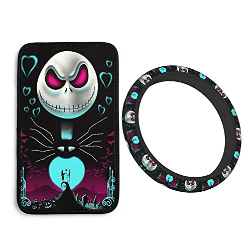 2 PCS Nightmare Before Christmas Universal Auto Center Console Pad Car Armrest Cushion Seat Box Cover + Steering Wheel Covers Protector for Most Vehicle SUV Truck Car Accessories