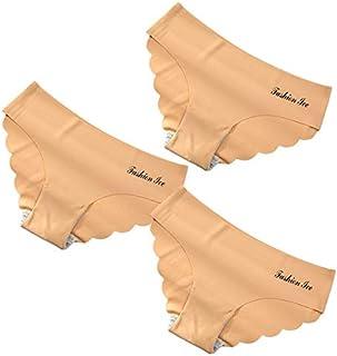 Panties For Women Seamless Panty Set Solid Invisible Underwear Sexy Low Waist Briefs Women's Underpants Lingerie Dropship 3 Pcs (Color : Gold, Size : 3PCS)