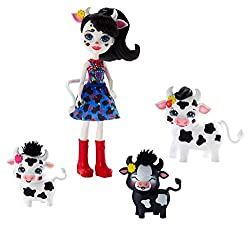 Discover the magic of friendship and nature with these Enchantimals family sets from the Harvest Hills collection Includes Cambrie Cow doll (6-inch), Ricotta cow, and 2 baby cows. For fashion play, Cambrie Cow doll is lookin' farm fresh in her overal...