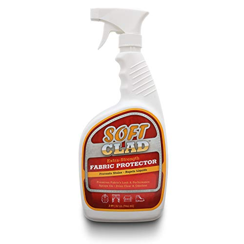 Extra Strength Fabric Protector Spray Prevents Stains and Repels Liquids. SoftClad Safely Guards Furniture, Shoes, Carpet, Upholstery, Suede, Leather, Couch, Canvas and more. Safe for indoor use -32oz