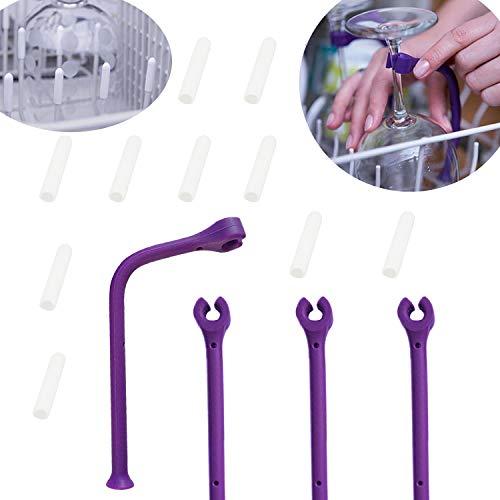 YouU 4 pezzi Supporti Reggi Bicchieri da Vino,10 pezzi Punte per Cestello Lavastoviglie Impedire la Formazione di Ruggine sui Denti e Proteggere Stoviglie Bicchieri e Posate