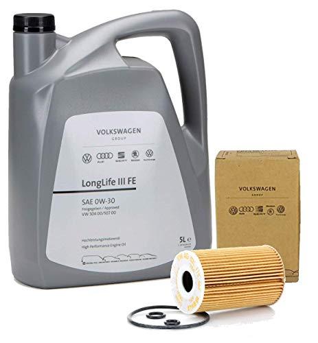 Duo Aceite Motor Original Volkswagen LongLife3 0W30 5 lts +Filtro aceite motores 1.0/1.4TFSI -1.4/1.6/2.0TDi 2001-2013
