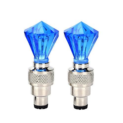 Fahrrad-ventil-licht-Fahrrad-zubehör Fahrrad-licht-led Fahrrad-licht-Auto-Reifen Fahrrad-Fahrrad-Rad Ventilkappe Spokes Leuchtet Grün Mit Knopf-Batterie Blau 1 Paar