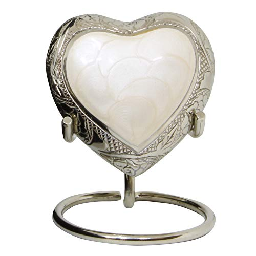 White Heart Keepsake Urn - Mini Heart Cremation Urn for Human Ashes - Handcrafted Box & Heart Urn Stand Included - Honor Your Loved One with Small White Urn Heart Shaped - Perfect for Adults & Infants