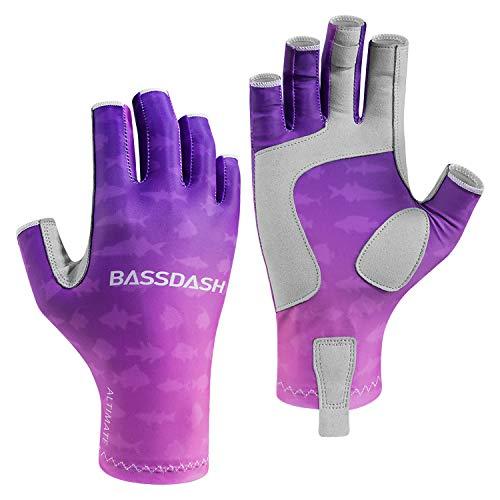Bassdash ALTIMATE - Guantes de pesca para mujer, protección solar UV, sin dedos, para kayak, remo, senderismo, ciclismo, conducción, tiro, entrenamiento (morado degradado, XS)