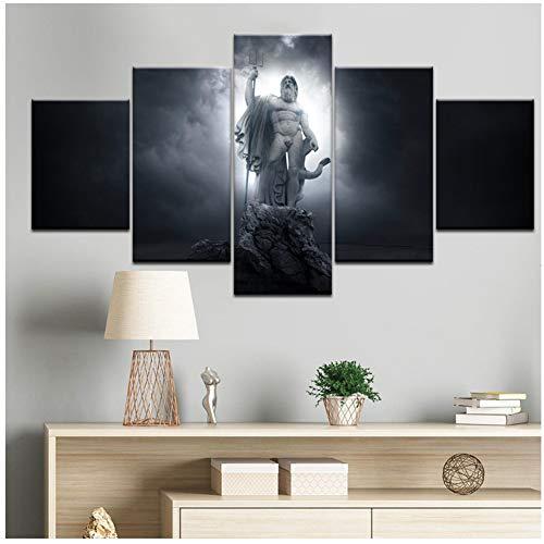 A&D Gott des Krieges Himmelfahrt Poseidon StatueWandkunst Leinwand Gemälde der griechischen Mythologie Bilder Home Decor HD Drucke Poster-30x40 30x60 30x80cm Kein Rahmen