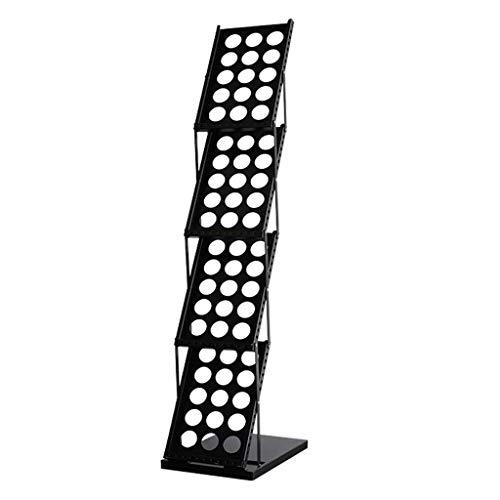 ZBM-ZBM A4 Verticaal tijdschrift Data Stand, Tentoonstelling Stand Brochure Display Literatuur Stand Pop-up Folding Metal Rack Office (Kleur : Zwart, Grootte : 1370x270x360mm) Multi-Layer Advertising Rack