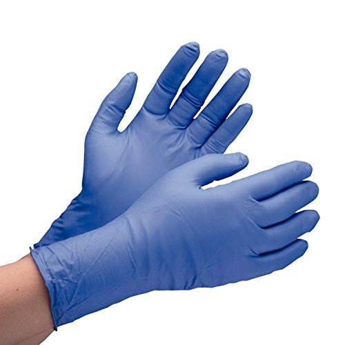 ミドリ安全 ニトリル手袋 ベルテ701H 厚手タイプ 粉なし ブルー S 100枚入