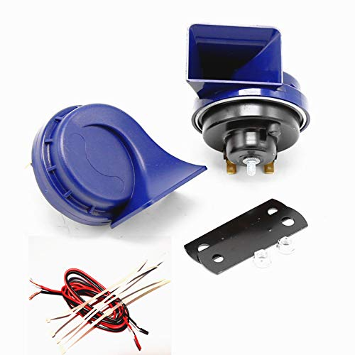 YIYDA Bocina de coche Bocina de barco universal Car Horn 140DB Corneta de aire Bocina de motocicleta Tono alto y bajo con soporte azul Bocina resistente al agua eléctrica para 12V SUV motocicleta etc