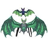 Jingyi Ala di Pipistrello di Halloween in Tessuto Non Tessuto, Set di Protezioni per Faccia di Pipistrello di Halloween per Adulti(Verde per Adulti)