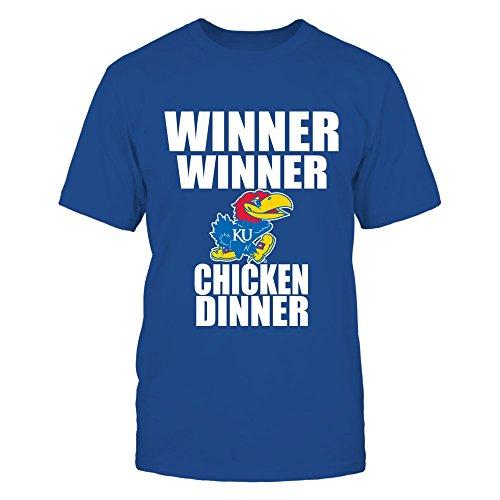 FanPrint Kansas Jayhawks T-Shirt - Winner Winner Chicken Dinner - Ku - Men's Tee/Royal / 2XL