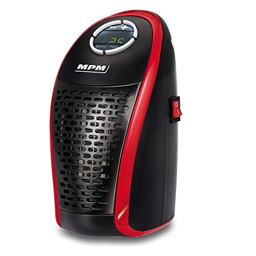 MPM MUG-18 Mini Calefactor portátil cerámico sin cable, regulador de temperatura 15-32ºC Pantalla LED, Mando a distancia, bajo consumo, 450W, rojo/negro