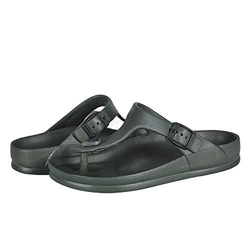 FUNKYMONKEY EVA Flip Flops Waterproof Adjustable Thong Sandals for Mens and Womens (6 M US, Army...