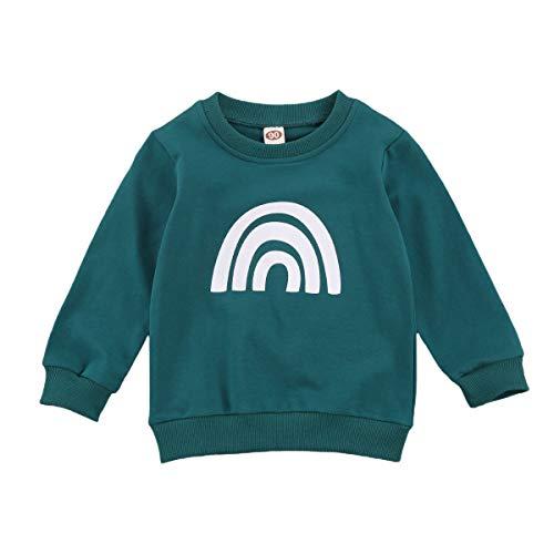 WANGSCANIS Sudaderas Casuales para Bebés y Niños Camisetas de Color Liso Jersey con Estampado de Arco Iris Cuello Redondo Manga Larga (Verde, 2-3 años)
