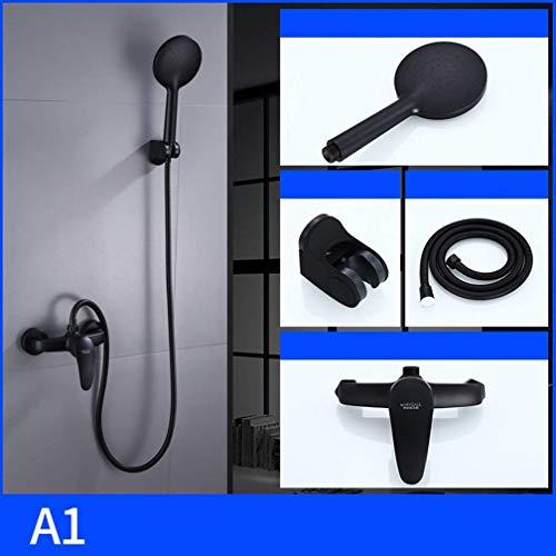 Duscharmatur-Set, Brausegarnitur schwarz, Haushaltskupfer, europäische Duschkabine, Duschkabine Dusche, A