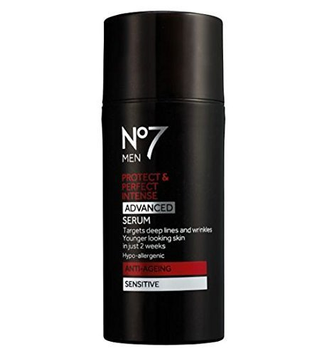 Boots No7 MEN Protect & Perfect Intense ADVANCED Serum ANTI-AGEING Sensitive 30ml-Targets Deep Lines and Wrinkles. FOR YOUNGER LOOKING SKIN IN JUST 2 WEEKS by Anti-Ageing