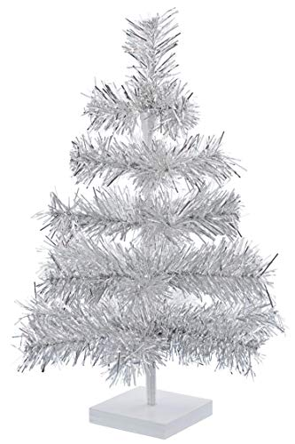EST. LEE DISPLAY L D 1902 24' Silver Christmas Trees Artificial Aluminum Brush Branches Classic Tinsel Feather Tree Tabletop Christmas Decoration Tree Wood Base Stand Included (Silver)