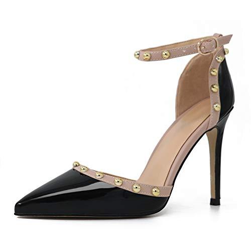 COLETER Damen Nieten Sandalen Lackleder High Heels Pointed Toe Pumps Schwarz 42EU