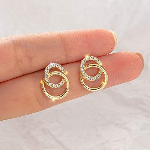 ENDFF Aretes Simple Double Circle Gold Color Metal Rhinestone Gota Pendientes para Mujeres Moda Pequeños Pendientes Joyas Regalos De Moda (Gem Color : LE009)