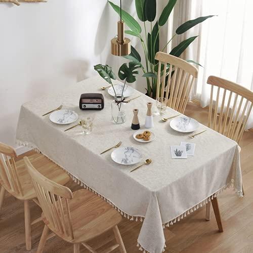 RRTY Mantel de lino con borla, decoración rectangular para mesa de café, impermeable, aproximadamente 60 x 60 cm