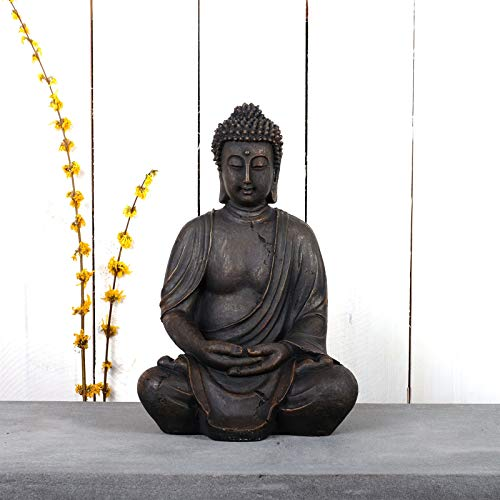 DESIGN DELIGHTS Sitzende Buddha Statue Lotus   40 cm, Kunstharz, antik grau-braun   Asia Skulptur, Gartenfigur, Buddha-Figur